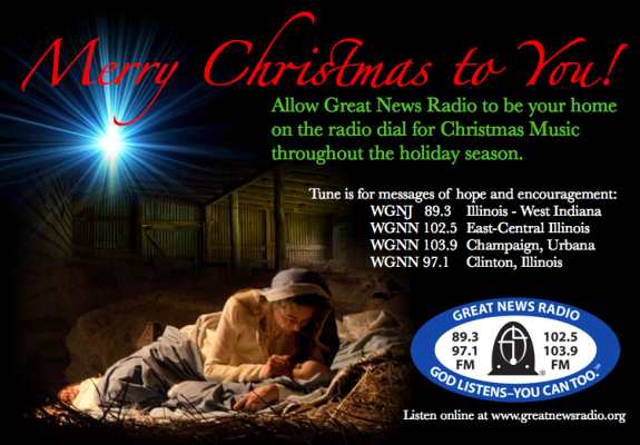 It's that time of year!  Christmas music and programming filled with messages of hope and encouragement!